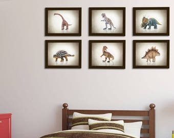 Discount Set of 6 Dinosaurs wall prints, boys room decor, kids wall art, nursery prints, dinosaurs decor, dinosaurs prints, baby boy decor