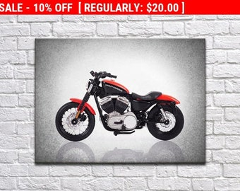 Harley Davidson 2007 XL 1220N Nightster side view wall print, motorcycle decor, Motorcycle poster, motorcycle poster, Harley Davidson
