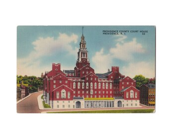 RHODE ISLAND: Providence County Court House, 250 Benefit St, Providence - Vintage Linen Postcard, 1940s