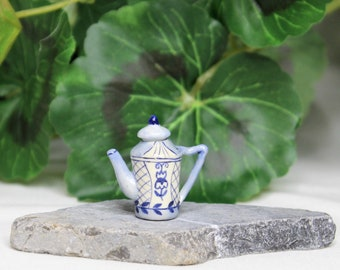 Dollhouse Miniature Teapot, Blue Bohemian Print Design, Miniature Fairy Garden Teapot with Removable Lid