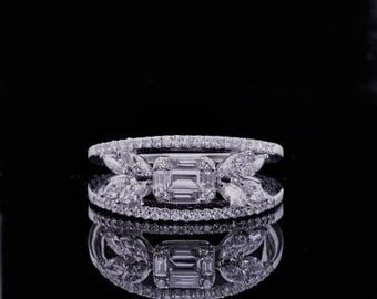 Diamond Anniversary Ring in 18K White Gold.