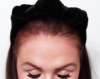Velvet headband, velvet turban, turban, black velvet headban, black velvet turban, black velvet headpiece, black headpiece, headwear.