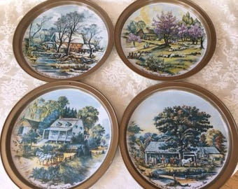 Vintage Set of 4 Currier & Ives Metal Trays 4 Seasons for Serving or Wall Decor 1970s