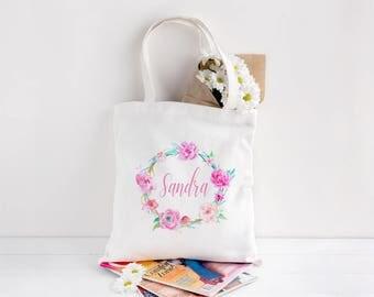 Flower Wreath Tote, Flower Wreath Bridesmaid Tote, Floral Wreath Tote, Flower Tote, Flower Tote Bag, Bridesmaid Gift, Wreath Tote, Bridal