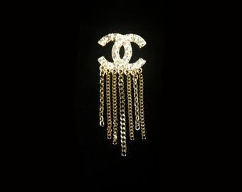 Designer Inspired Brooch Wedding Bridal Brooch Inspired Chanel Inspired Jewelry Gold Crystal Brooch Rhinestone Fashion Brooch