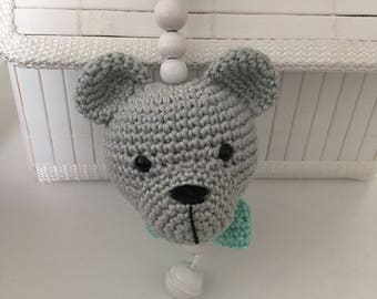 Baby shell pendant crochet bear