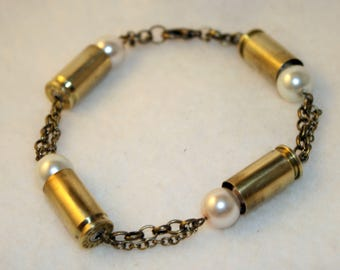 9mm Bullet Shells and pearls on chains bracelet - Bullet jewelry - Gifts for her