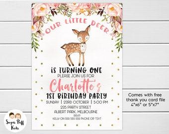 Woodland Deer Birthday Invitation, Oh Deer Birthday Invitation, Deer Birthday Invitation, Woodland 1st Birthday Invitation, Woodland Deer