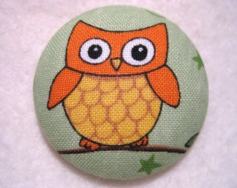 Set of 4 Owl Magnets on Green Background