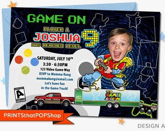 Video Game Party,Video Game Truck Invitation,Custom Face Invites,Video Birthday Party,Game Truck,Gaming,Video,Birthday Party,Gaming,Computer
