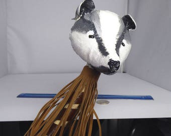 Rawhide Shamanic Rattle, Badger Head