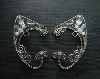 Wedding Ear cuffs Elf Ear Cuff White Ear cuff Silver Ear Cuff Elven ears Elf earrings Cuff Non Piercing Wire wrapped ear cuff