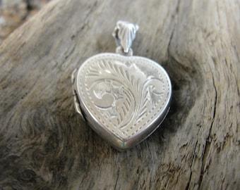 Vintage Engraved Sterling Silver Heart Locket