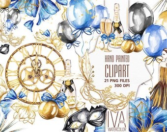 New Years clipart, New Years Party Clipart, New Years Eve Clipart, Clock, Baloons, Fashion Girl New Year Clipart New Year Clipart Background