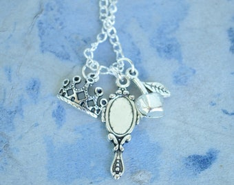 Snow White Charm Necklace - 20 inch chain - ready to ship - seven dwarfs, mirror mirror, evil queen, poison apple, fairest of them all