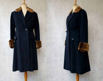 1940s Midnight Blue Wool Coat with Lambswool Lapel&Cuffs