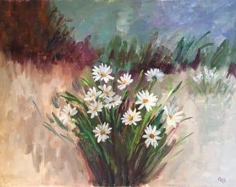 """Vintage Original Daisy Floral Still Life Painting Signed """"Ora"""""""