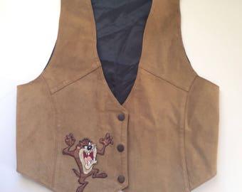 Vtg 90s Taz Looney Tunes Genuine Leather Vest Size Sm/M