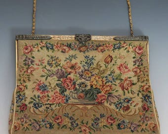 French VTG Hand Embroidered Petit Handbag Purse w Silver Marcasite Clasp