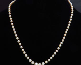 Gorgeous 1920's 14k White Gold Natural Pearl Necklace
