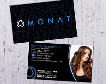 Monat Business Cards - Personalized Picture with Black Pattern - Durable 16pt - Rich Matte Finish -PRINTED and SHIPPED directly to YOU!