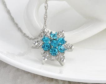 Blue Crystal Snowflake Zircon Flower Silver Necklaces & Pendants Jewelry