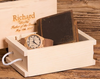 Personalized Wallet and Wood Watch, Anniversary, Best Man, Gifts for Men, Groomsman, Gifts for Him, Retirement, Graduation, Usher MW4&ZB27