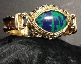 Brass Wire Weave Lapis & Green Agate Cabochon Bracelet