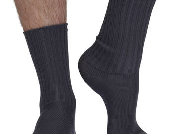 Shino men's elastic free (soft top) bamboo comfort crew socks in slate