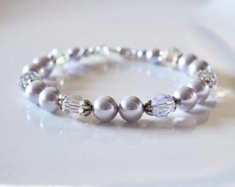 Lavender Pearl Bracelet, Swarovski Pearl Bracelet, Pearl Bracelet, Bridesmaid Bracelet, Bridal Jewellery, Bridesmaid Gift, Wedding Gift