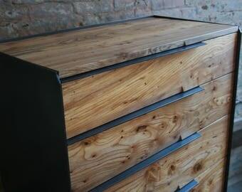 Reclaimed Wood Dresser with Blackened Steel