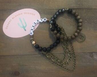 BLESSED Black& Grey Wood Bracelet Set