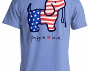 Puppie Love Brand USA Pup Cotton Carolina Blue Short Sleeve T Shirt