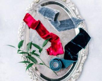 Silk velvet ribbon | hand dyed ribbon | velvet ribbon | wedding ribbon | red silk ribbon | ribbon bouquet | silk ribbon | gray ribbon | teal