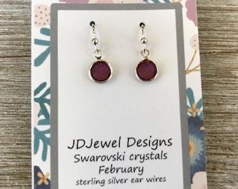 Swarovski Crystal February Birthstone Earrings