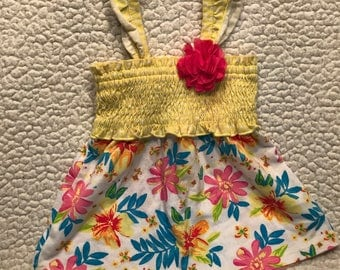 Yellow and White with Flowers Puppy Dress