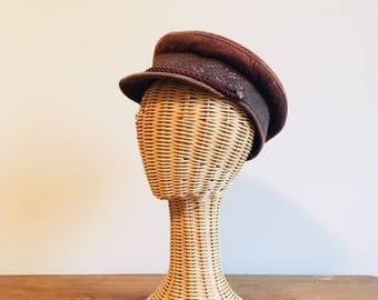 Chapeau de pêcheur en velours côtelé marron