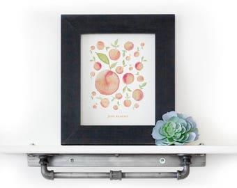Peach Print - Just Peachy Print - Watercolor Print - Kitchen Print - Fruit Watercolor - Georgia Peach Print - Just Peachy - Watercolor Peach