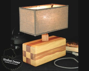 Wooden Table Lamp, Wooden Bedside Lamps, Wood Base Lamp, Modern Table Lamp,