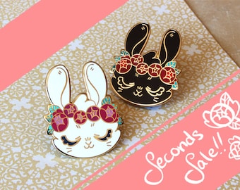 Bunny Flower Crown Enamel Pin Seconds