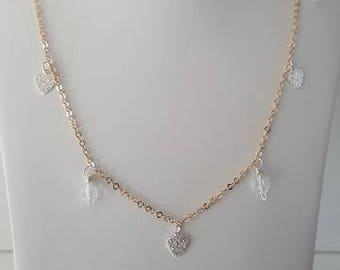 Handmade Rose Gold Plated 925 Sterling Silver Seven Silver Heart Charm Necklace