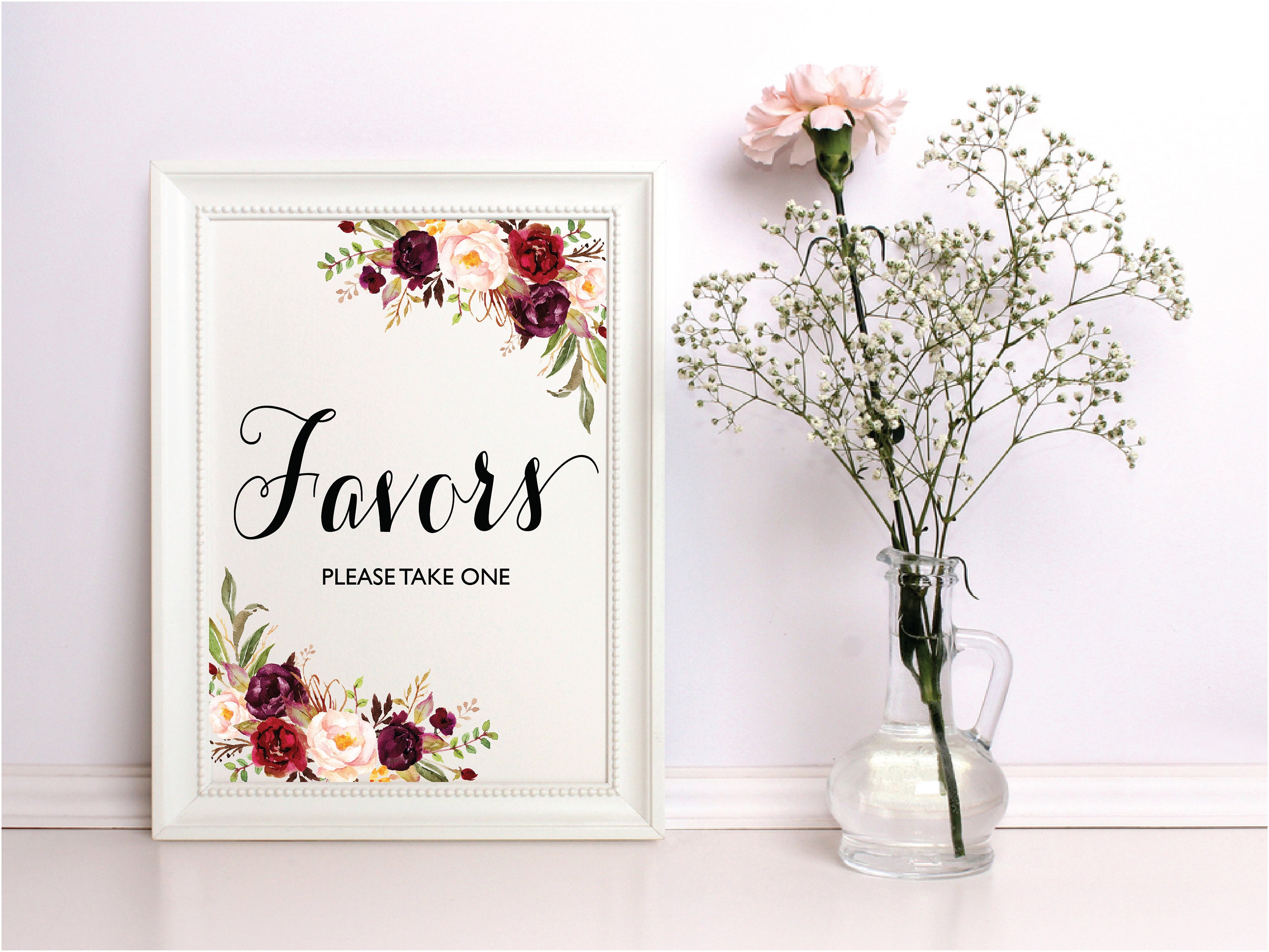Wedding Favors Sign Signs Set Please Take One Printable