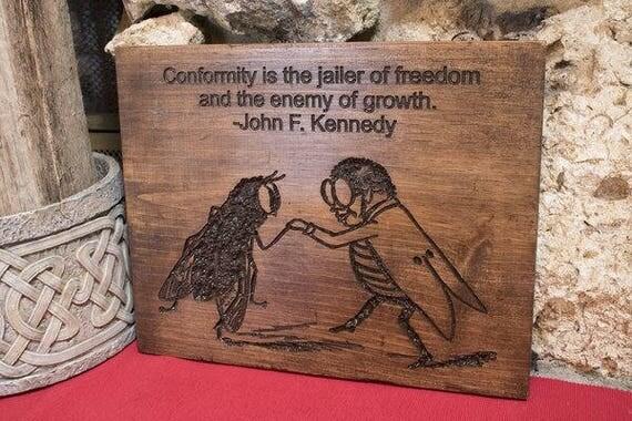 Jailer of Freedom Carved Sign
