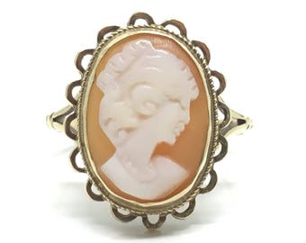 Vintage Cameo Ring | 9ct Cameo Ring | Size M Ring | 6 1/4 Ring | 9ct Gold Ring