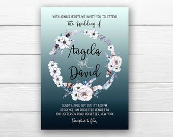 Wedding Invitation Printable Floral Blue Lilac White Digital Wedding Watercolor Boho Invitation Bohemian Wedding Invite WS-021