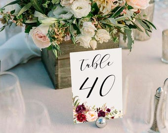 Wedding Table Numbers,Printable Table Numbers,Marsala Burgundy Table Numbers,Table Numbers Wedding,31-40,4x6,PDF Instant Download TN-024