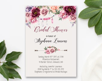 Bridal Shower Invitation Printable Floral Digital Wedding Marsala Burgundy Watercolor Romantic Vintage Bohemian Bridal Shower Invite WS-030