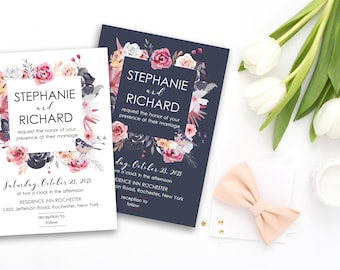 Wedding Invitation Suite Printable Floral Digital Wedding Pink Blush Peach Gray Romantic Invitation Bohemian Wedding Invite WS-041
