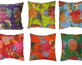 "Sale!! 10 for the price of 8 + FREE SHIPPING!! 16"" x 16"" Indian Handmade Fruit and Floral Print Kantha Cushion covers, shams/ pillow covers"