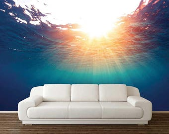 Underwater Wall Decal, Wall Mural Sun, Seabed Wallpaper, Sunshine Wall Decal, Removable Wall Mural